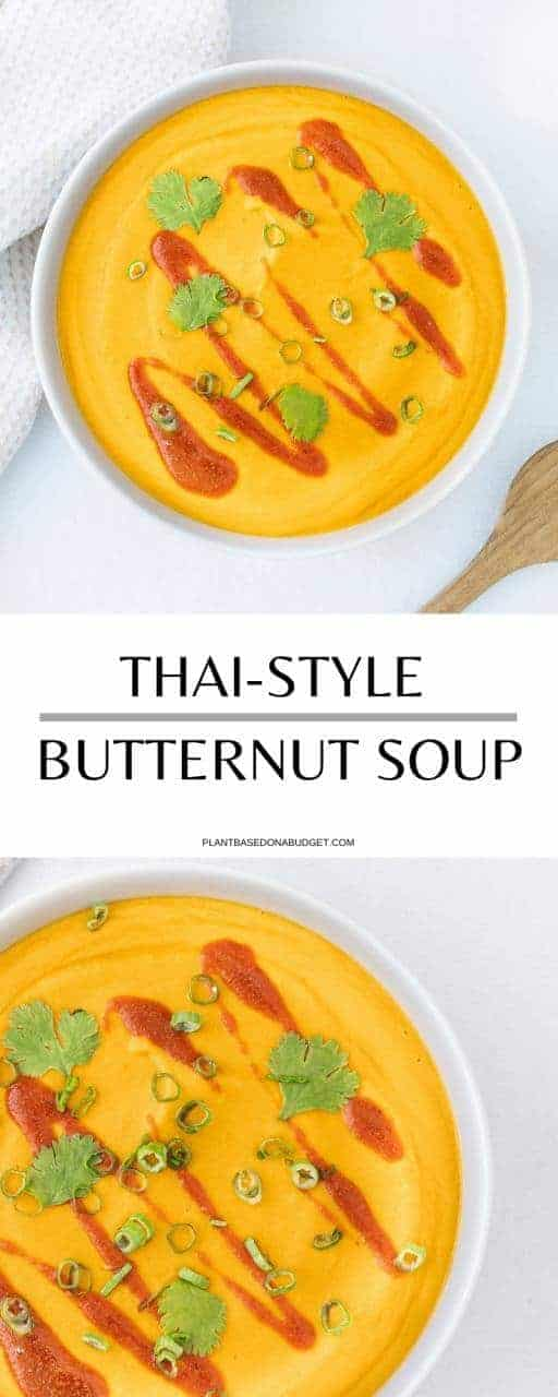 Thai-Style Butternut Squash Soup   Plant-Based on a Budget   #butternut #squash #thai #soup #vegan #plantbasedonabudget