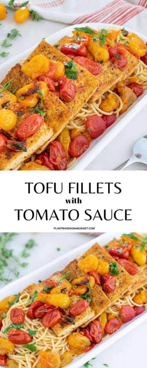 Platter served with spaghetti and tofu fillets with tomatoes and herbs
