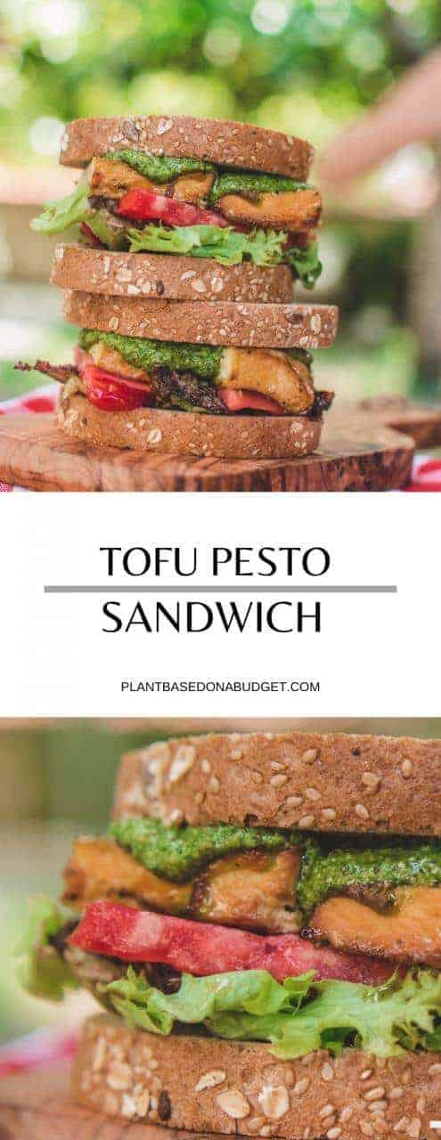 Tofu & Pesto Sandwich   Easy Plant-based Lunch   #sandwich #tofu #pesto #vegan #plantbased #lunch #plantbasedonabudget