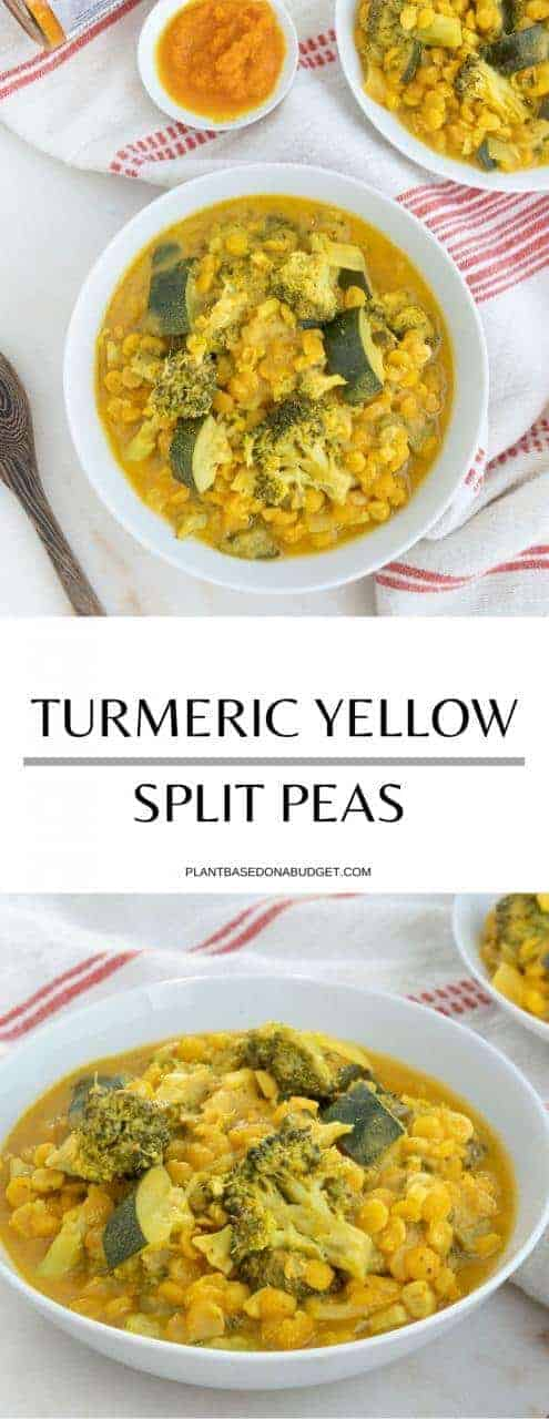 Veggie Turmeric Yellow Split Peas | Plant-Based on a Budget | #soup #split #peas #vegan #plantbasedonabudget