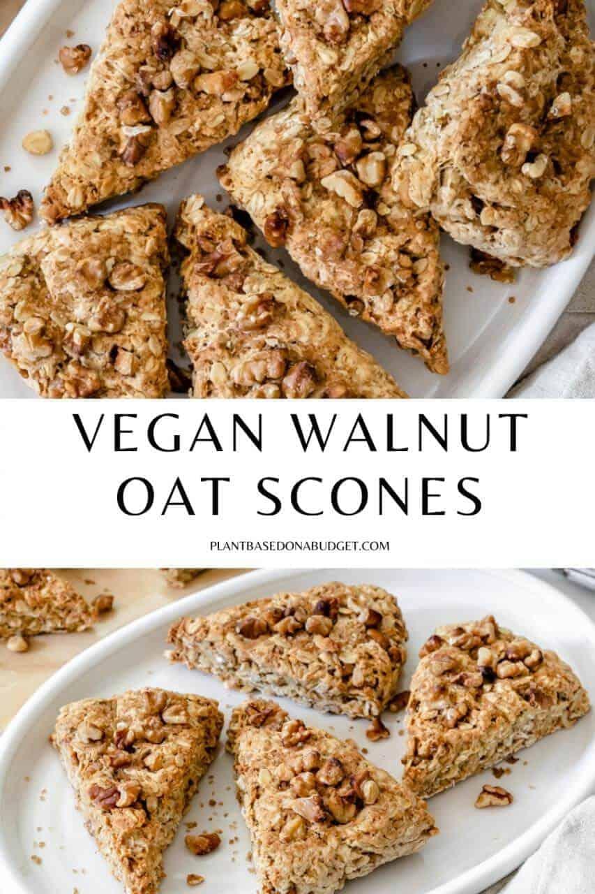 pinterest graphic for vegan walnut oat scones