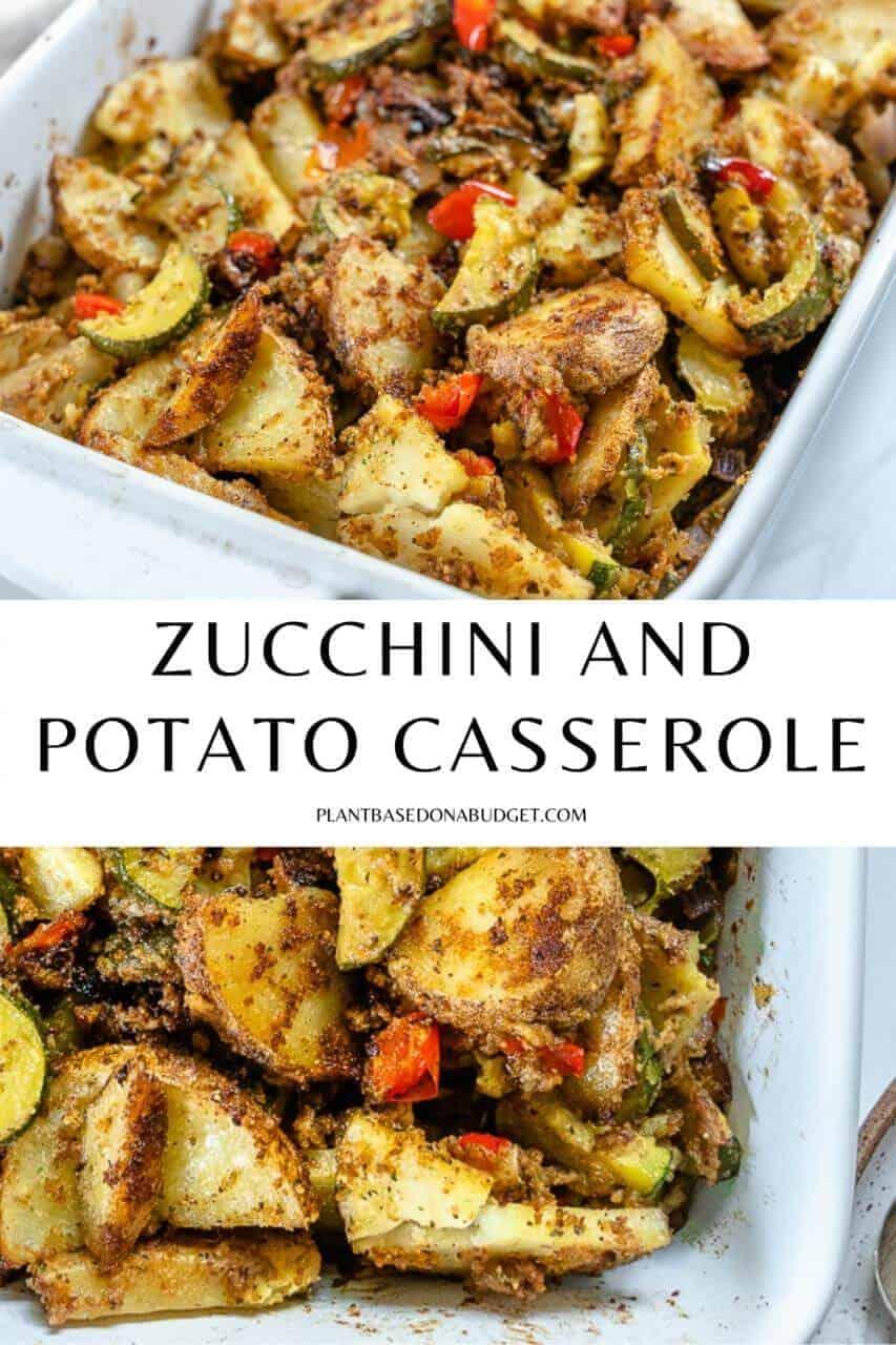pinterest graphic for zucchini and potato casserole