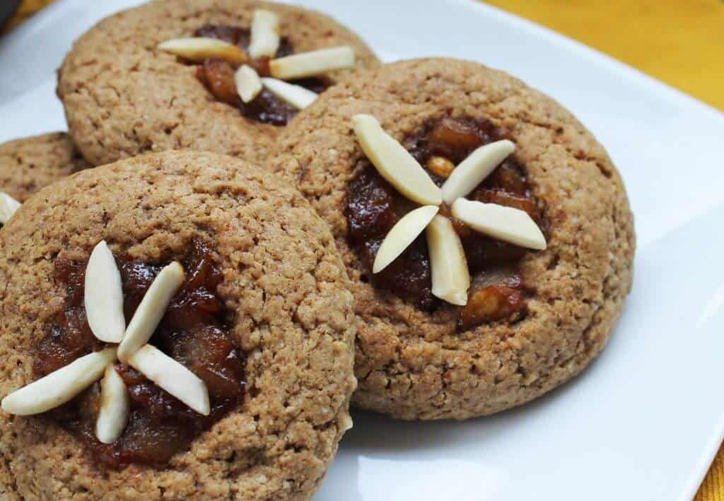 almond pear thumbprint cookies scaled