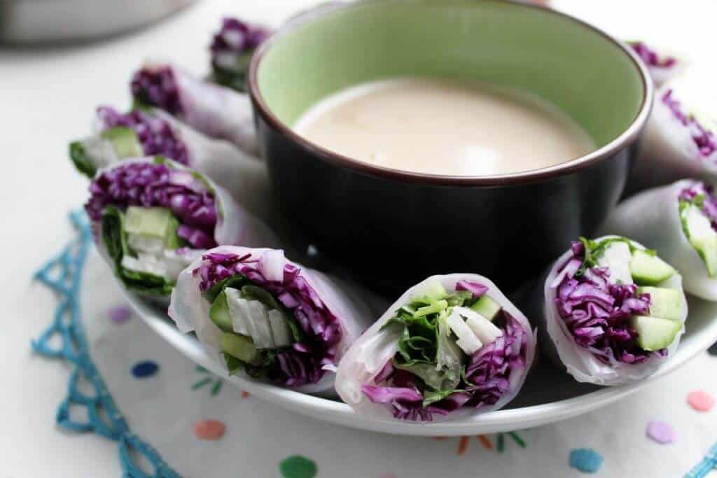 red cabbage and jicama spring rolls scaled