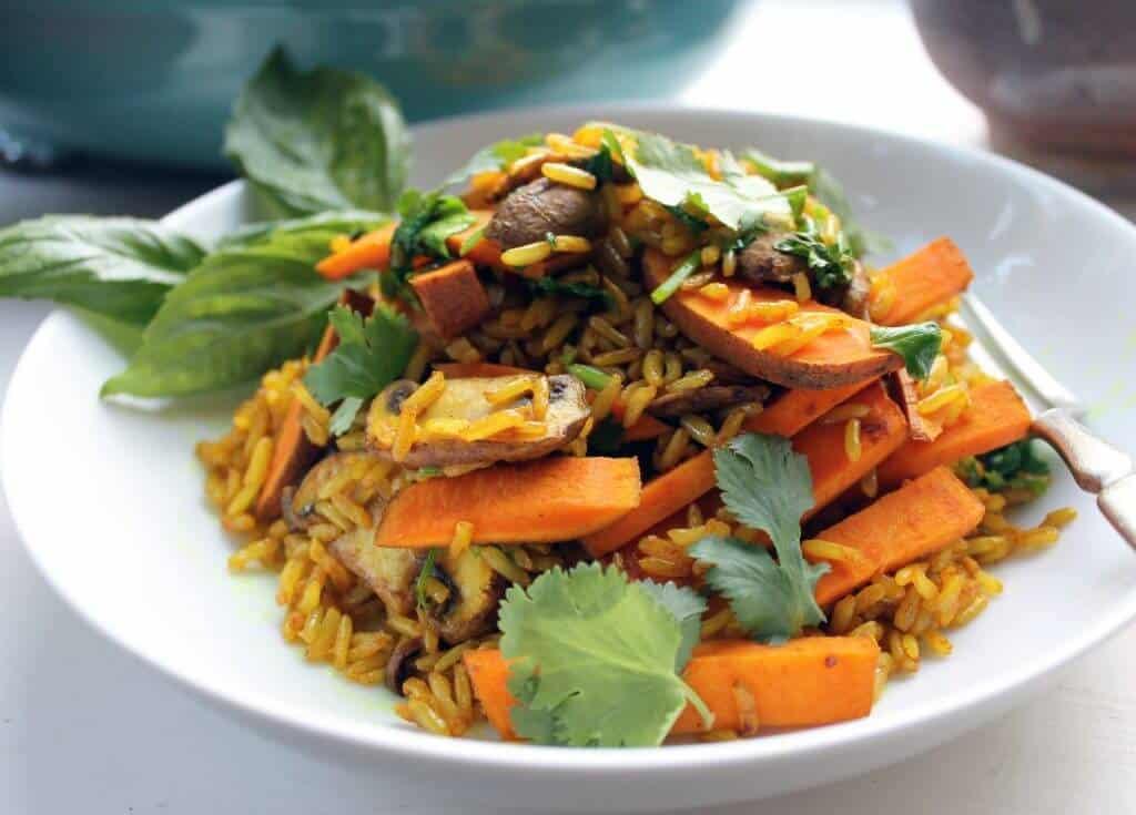 sweet potato and turmeric fried rice scaled