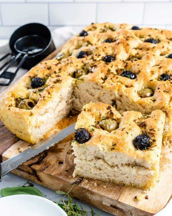 Fresh Herbs and Olives Vegan Focaccia Bread CA Olives Plant Based on a Budget 11 575x719 1
