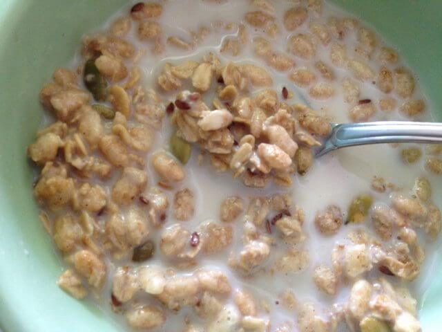 A spoon in a bowl of pumpkin flax granola with soymilk.