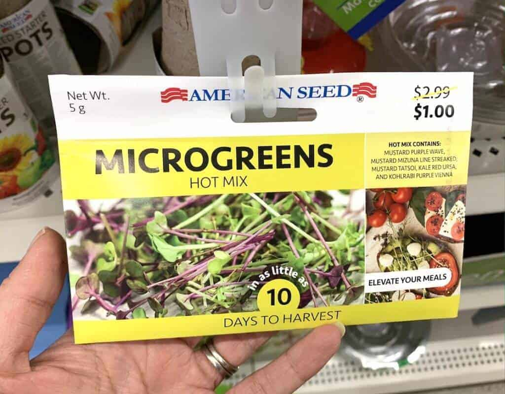 Closeup of a packet microgreens hot mix seeds.