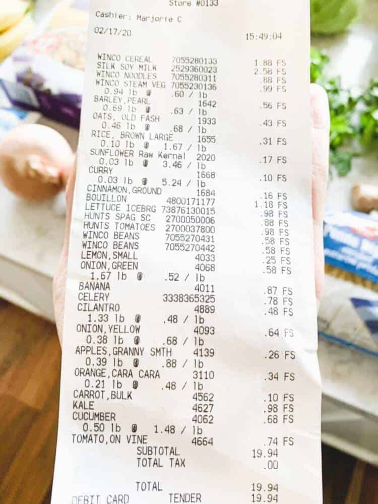 A receipt showing healthy plant-based groceries bought on a budget.
