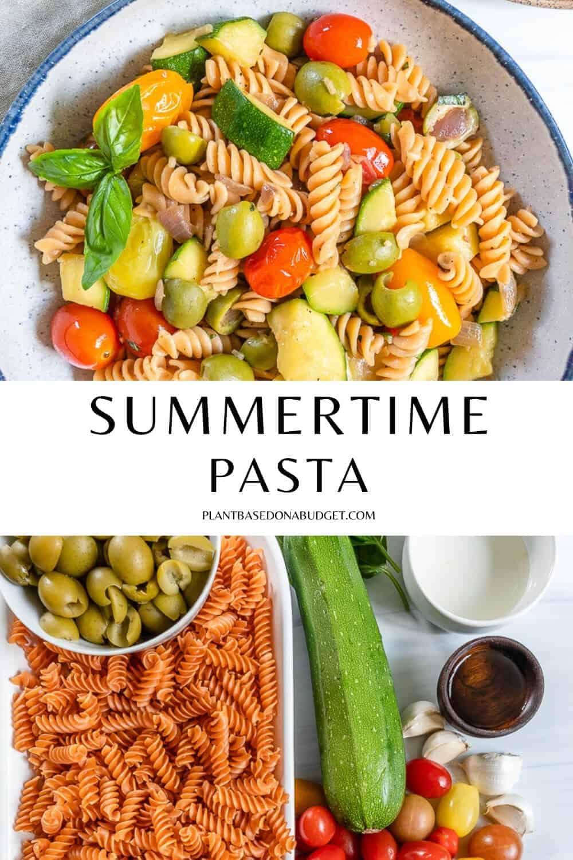 pinterest graphic for summertime pasta