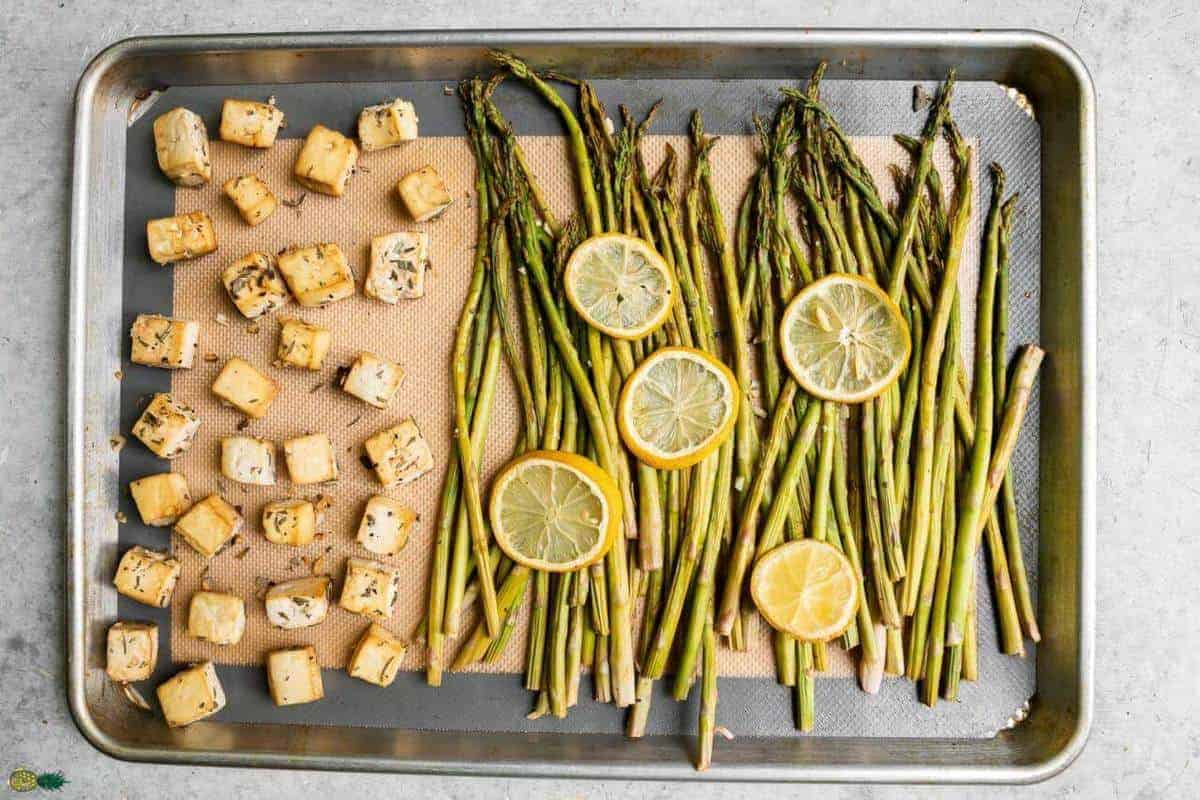 Sheet Pan with some cubed tofu, asparagus and lemon
