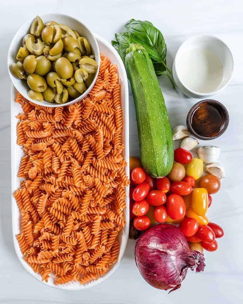 ingredients of summertime pasta