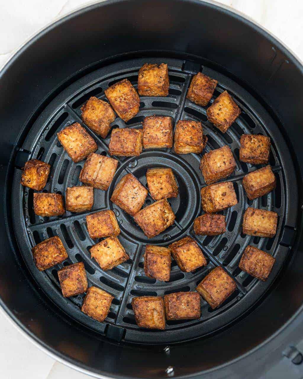 Crispy Tofu inside an Air Fryer