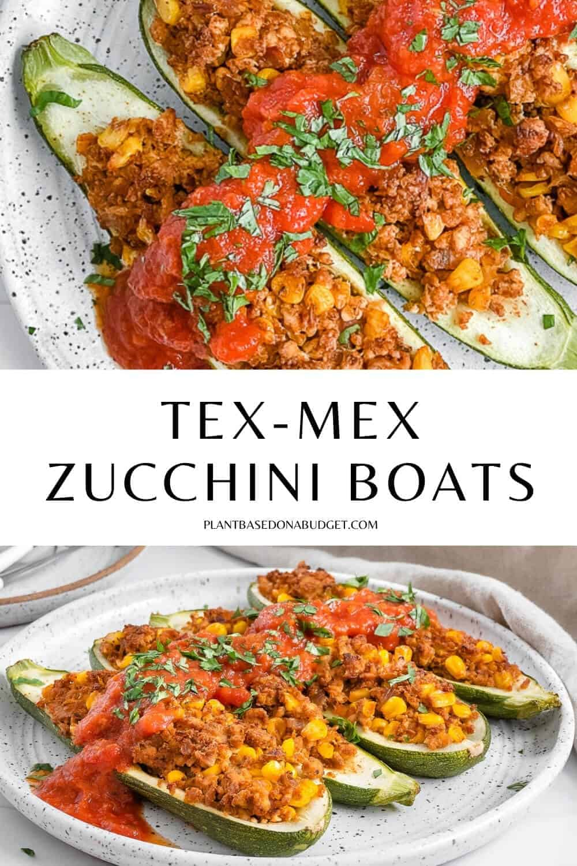 pinterest graphic of zucchini boats