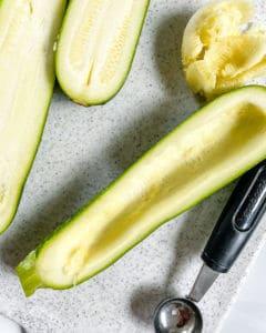 process of using zucchini baller on zucchini