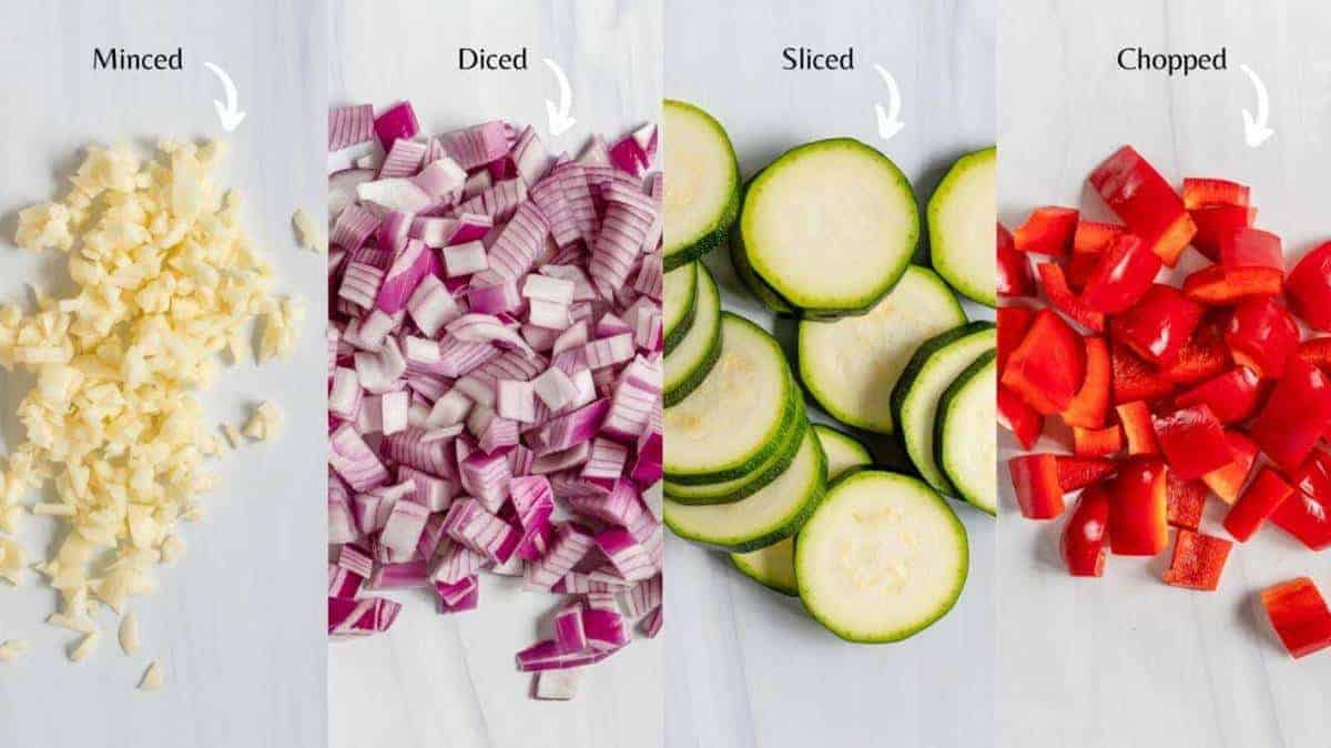 Different Vegetables cut in Different Ways