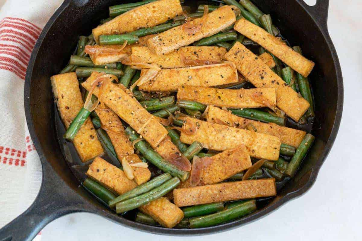 Lime Tofu with Green Beans on an Iron Skillet