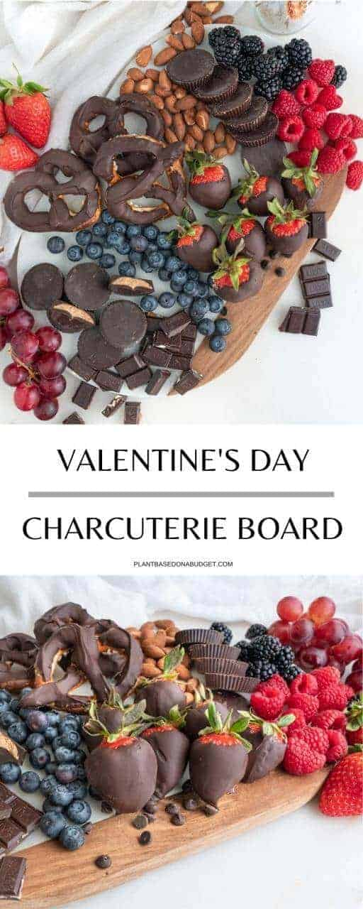Board with chocolate pretzels, peanut butter buts and a variety of berries Pinterest Graphic