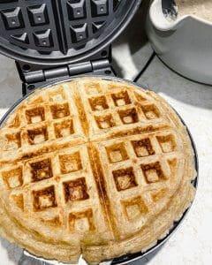 prepared waffle in the waffle iron