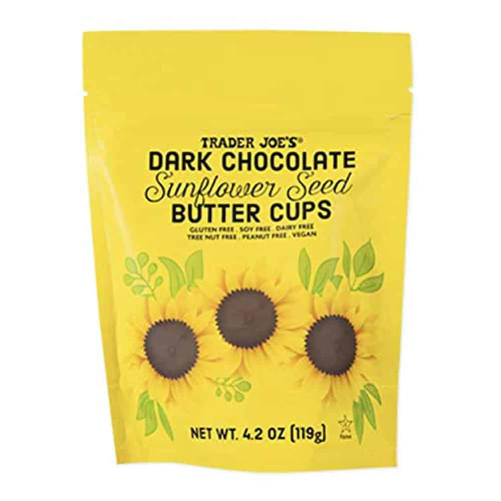 dark chocolate sunflower packaging against white background
