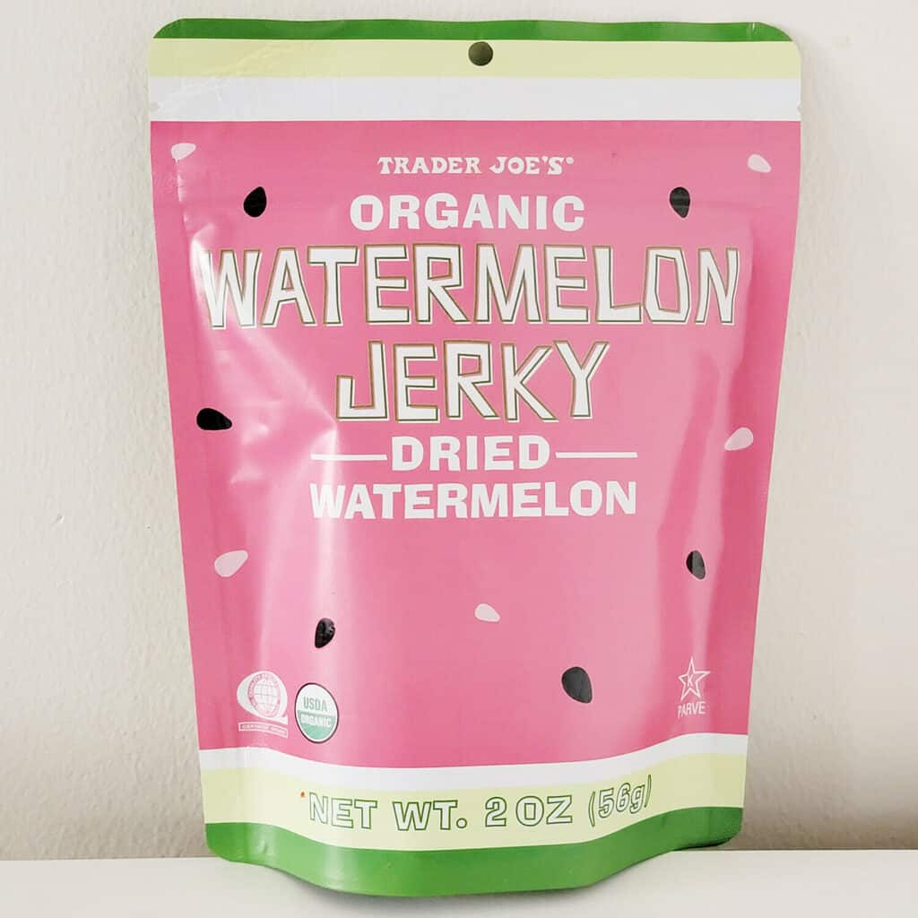 organic watermelon jerky packaging against a light background
