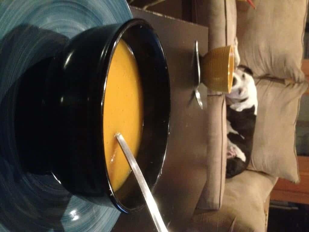 A black bowl of ginger butternut squash soup.
