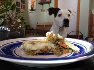 Dinner plate with a serving of vegan shepherd's pie.