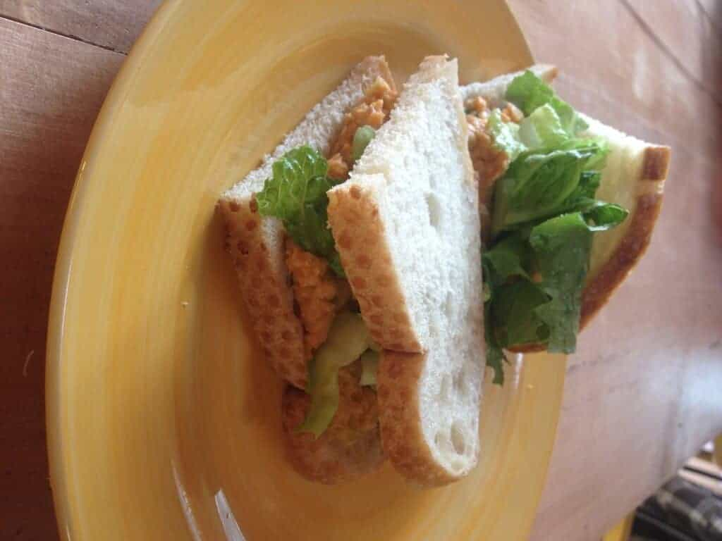 Chickpea salad sandwich on a plate.