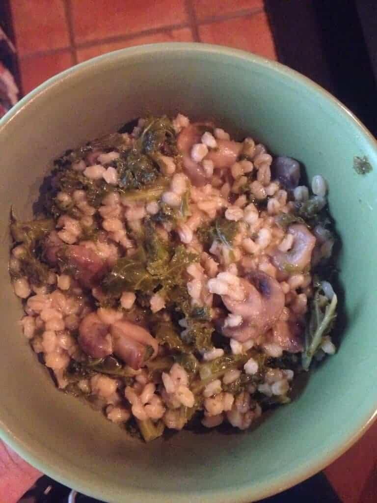 Dinner bowl of mushroom barley kale pilaf.