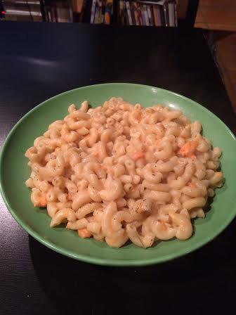 Bowl of vegan sweet potato macaroni and cheese.