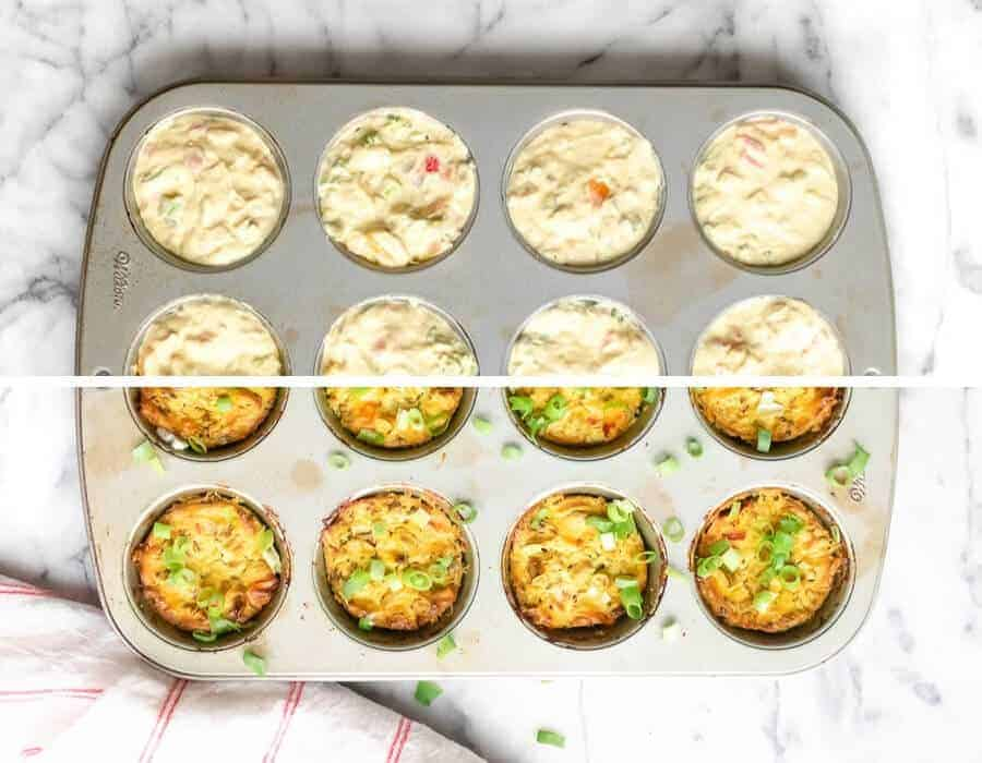 Muffin tin with tofu egg bites cooked and uncooked